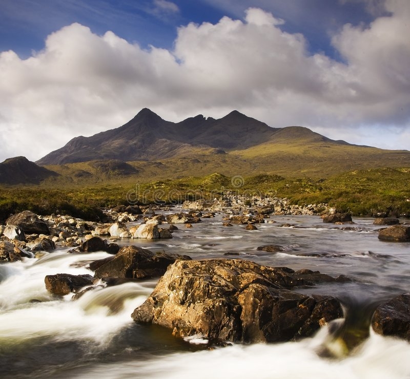 The Cullin hills and river stock images