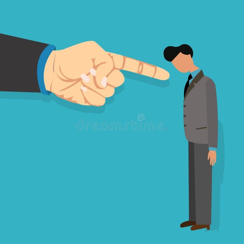 A culpa do empregado pelo chefe obtém o dedo ateado fogo que aponta responsabilizando desenhos animados da ilustração do vetor ilustração stock