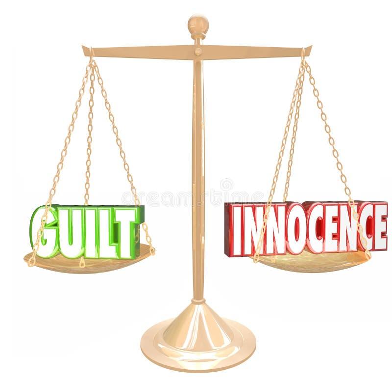 Culpabilité contre la décision Verdic de jugement d'échelle d'or de mots de l'innocence 3d illustration stock