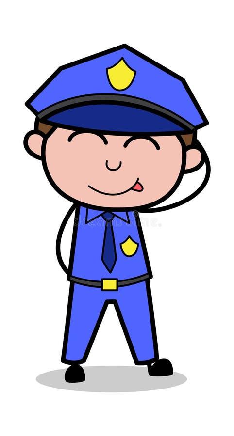 Culpabilité se sentante - rétro illustration de vecteur de policier de cannette de fil illustration stock