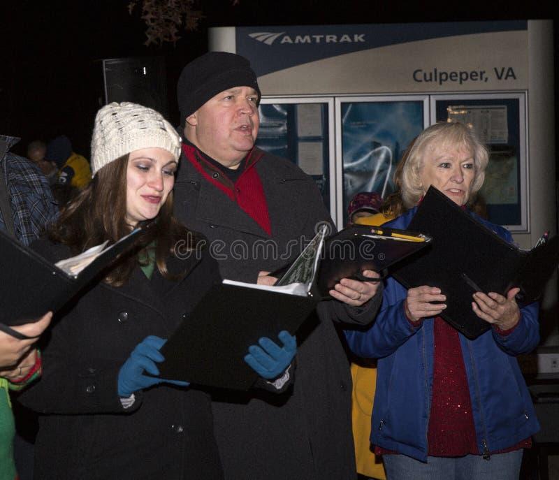 Culpeper Virginia/USA-11/17/18: Carolers som sjunger på julfestivalen i Culpeper Virginia royaltyfria foton