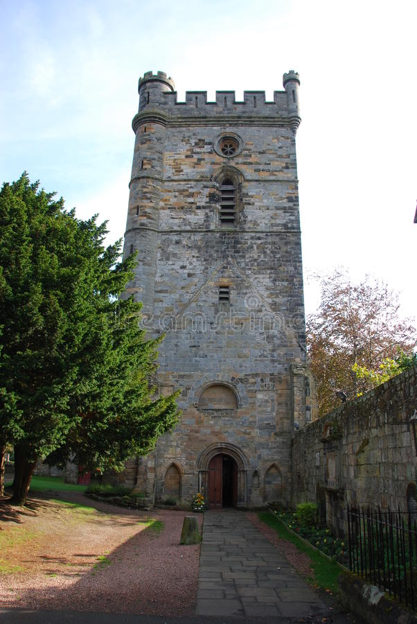 Culross Church. The tower of the ancient church in the historic Fife village of Culross royalty free stock photos
