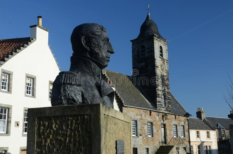 Culross Statue. An external view of a historic building in the royal burgh of Culross royalty free stock photos