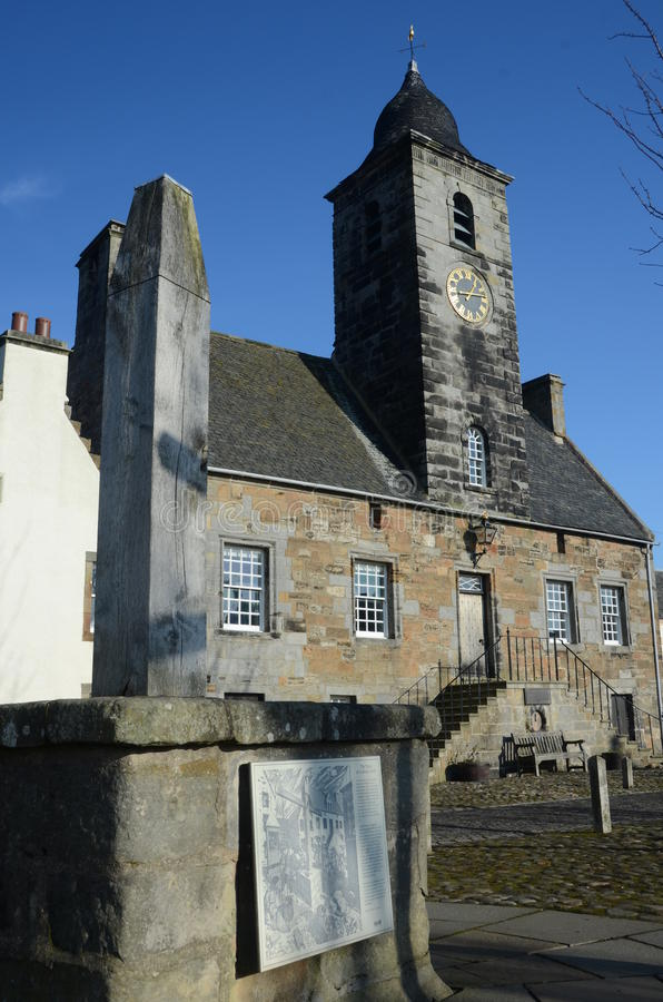 Culross Town House. An external view of a historic building in the royal burgh of Culross stock photo