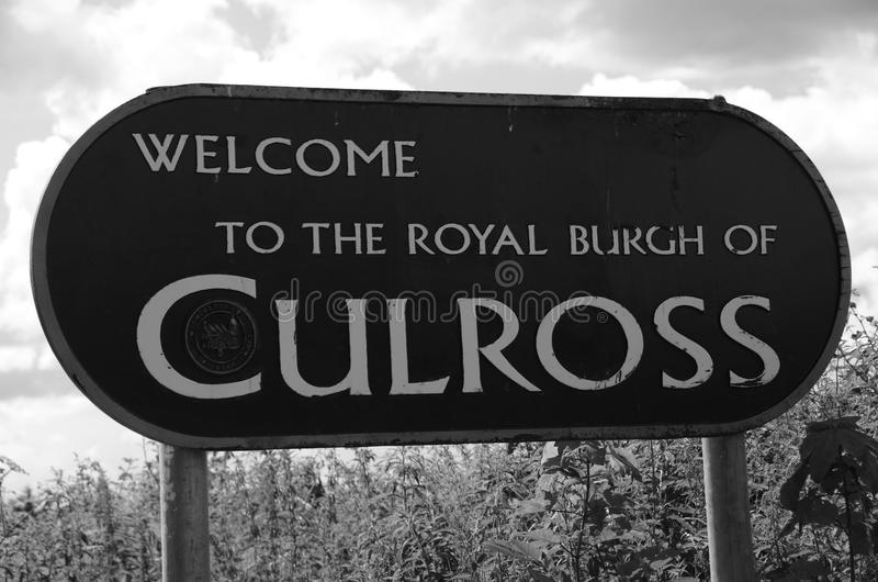 Culross. A view of the entrance sign to the royal burgh of Culross royalty free stock image