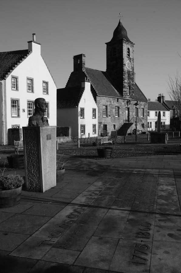 Culross View. An external view of a historic building in the royal burgh of Culross stock photos
