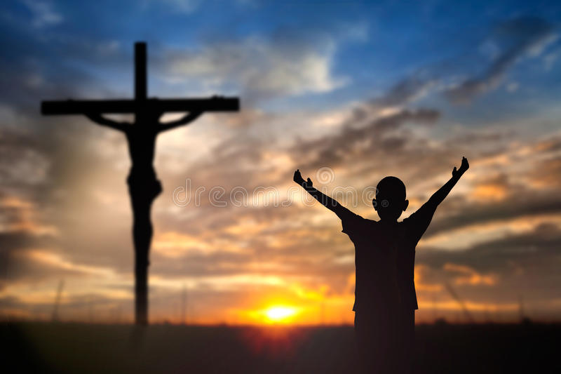 Culte Jésus sur la croix photo stock