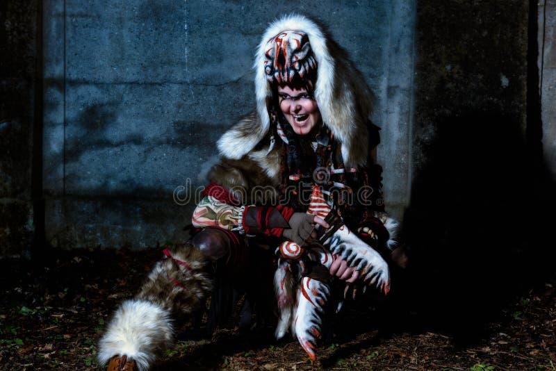 Cultic spiritually shaman performing ritual.  royalty free stock photos