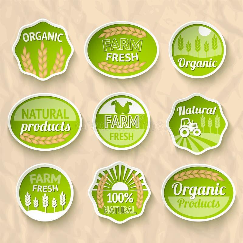 Cultivando etiquetas da colheita e da agricultura ilustração stock