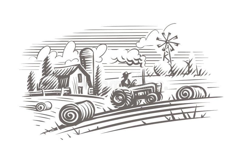 Cultivando a ilustração do estilo da gravura da paisagem Vetor, isolado, mergulhado ilustração stock