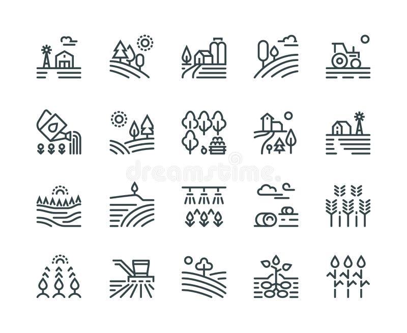 Cultivando a linha ícones da paisagem Casas rurais, plantando vegetais e campos de trigo, colheitas cultivadas agricultura ilustração do vetor