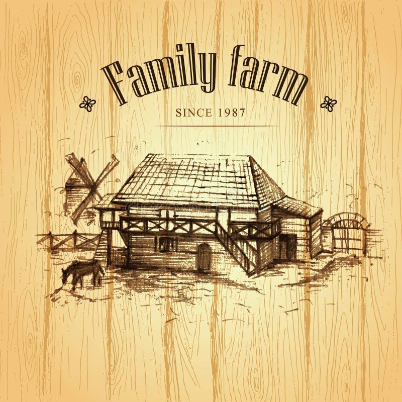 Cultivando, paisaje rural ilustración del vector