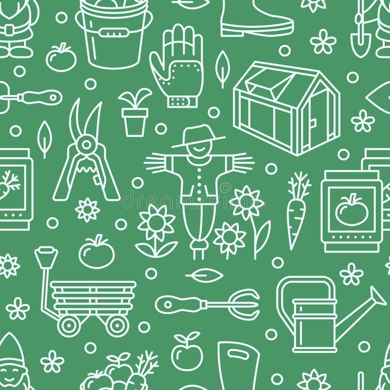 Cultivando un huerto, modelo inconsútil verde del establecimiento y de la horticultura con la línea iconos del vector Equipo de j ilustración del vector