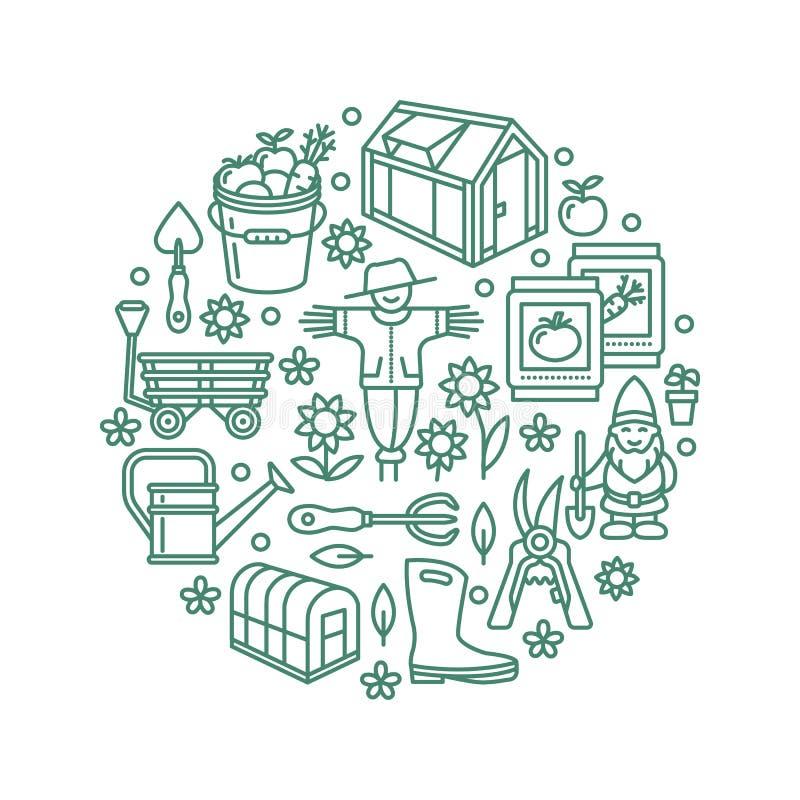 Cultivando un huerto, plantando, bandera de la horticultura con la línea icono del vector Equipo de jardín, casa verde, espantapá libre illustration