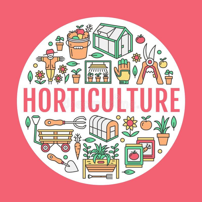 Cultivando un huerto, plantando la bandera de la horticultura con la línea icono del vector Equipo de jardín, semillas orgánicas, stock de ilustración