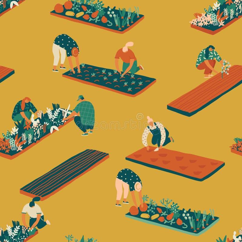 Cultivando un huerto y cultivando el modelo inconsútil ilustración del vector