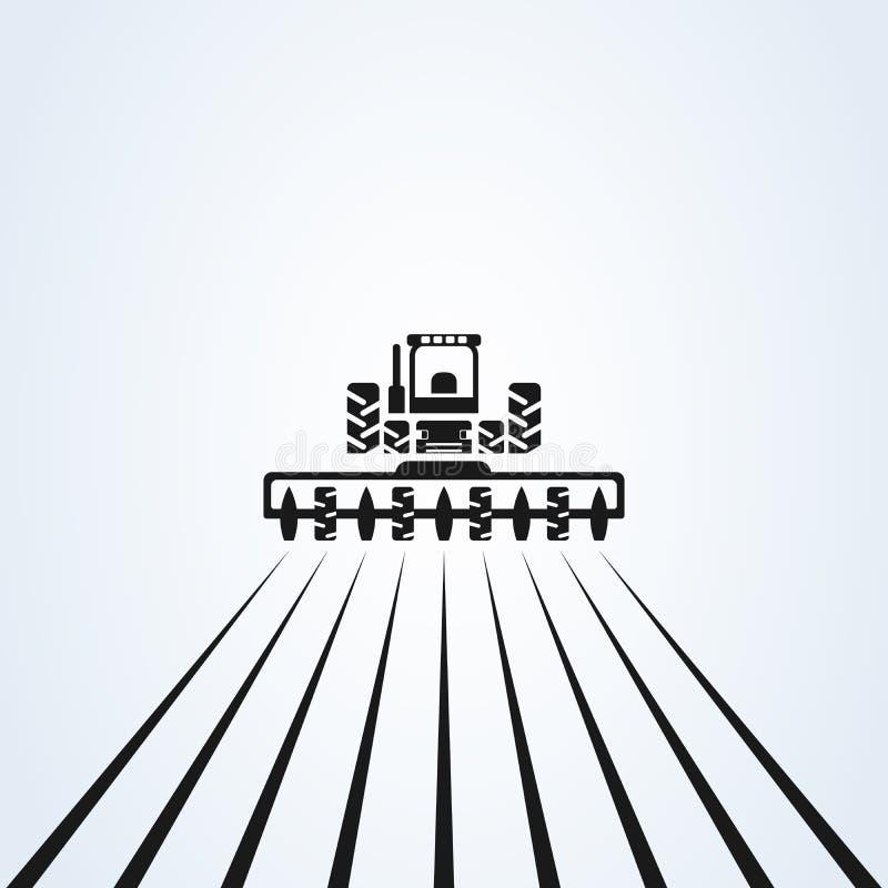 Cultivant avec le tracteur avec le cultivateur et la charrue, conception de logo Conception de vecteur Industries de ferme et agr illustration stock
