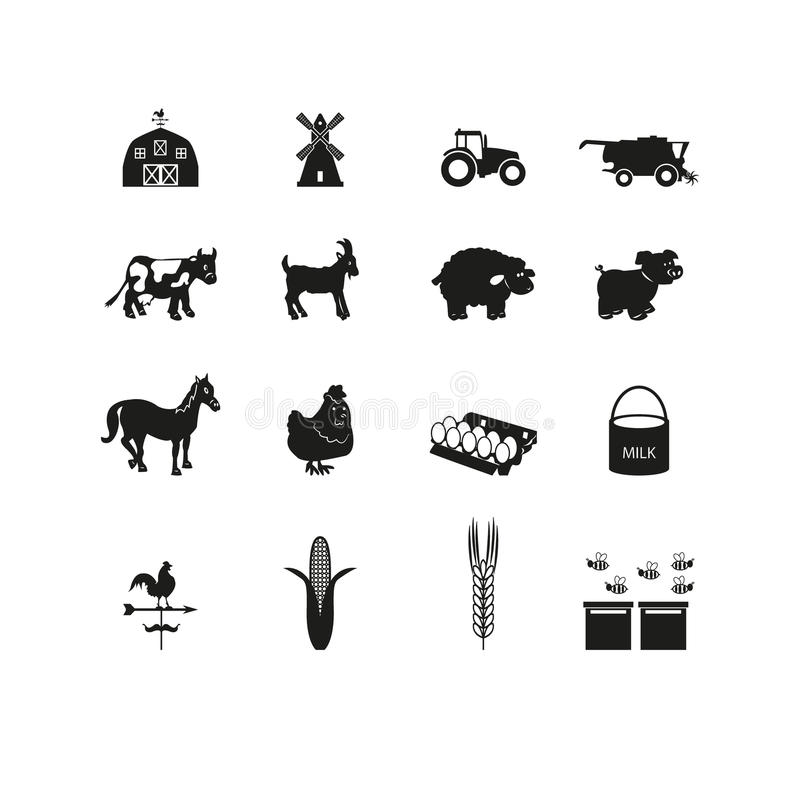Cultivant des icônes réglées illustration stock