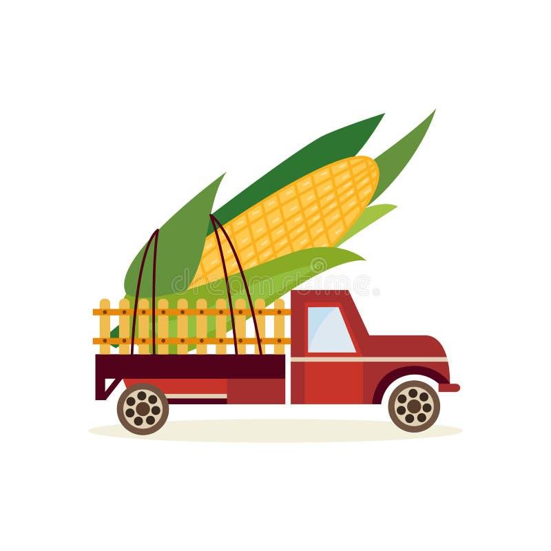 Cultivant le concept de récolte avec le grand épi de blé derrière la voiture de camion d'isolement sur le fond blanc illustration libre de droits
