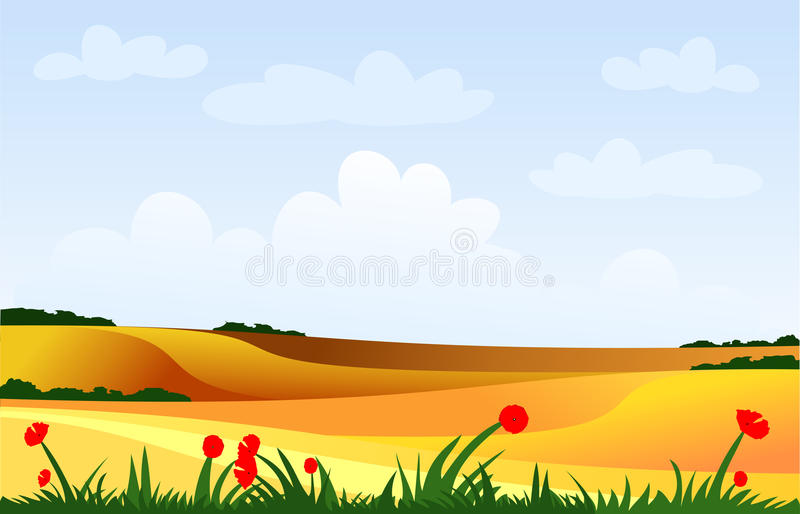 Cultivated fields royalty free illustration