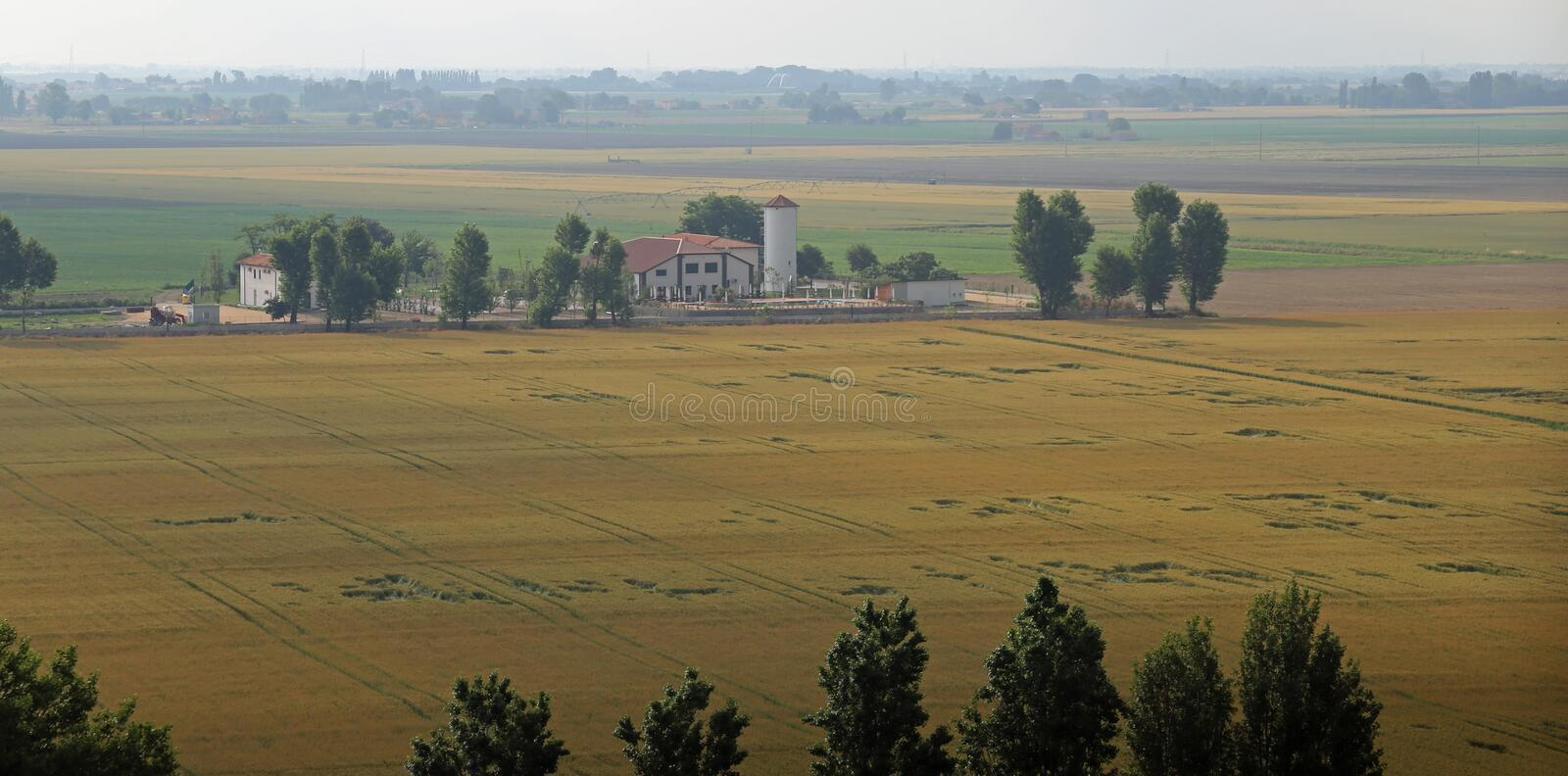 cultivated fields in the vast Po Valley in central Italy royalty free stock image