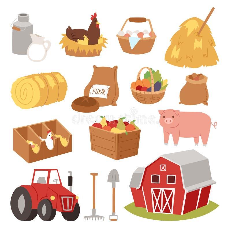 Cultive a casa das ferramentas e dos símbolos do vetor, desenhos animados do traktor que cultivam símbolos animal da vila e terra ilustração stock