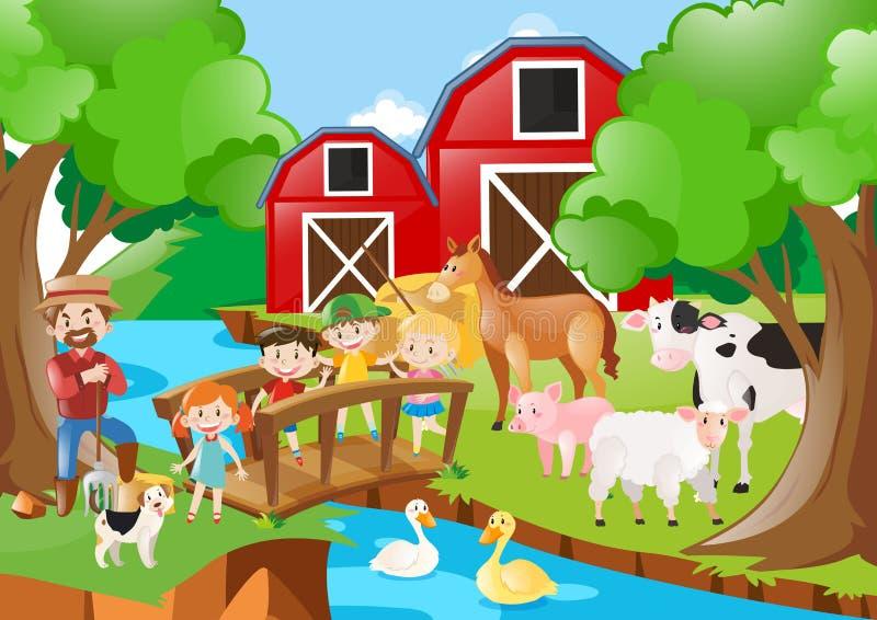Cultive a cena com fazendeiro e crianças pelo rio ilustração stock
