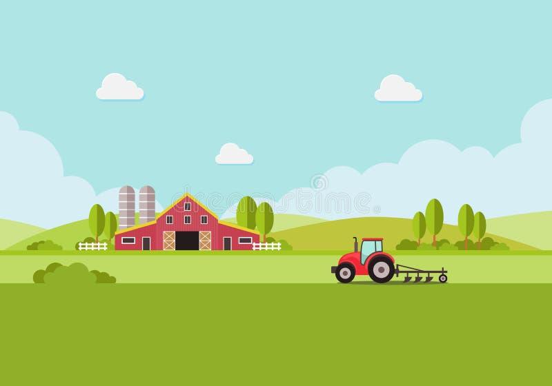 Cultive con el tanque de agua y el tractor, paisaje del país, plantilla plana de moda del diseño del vector del estilo stock de ilustración