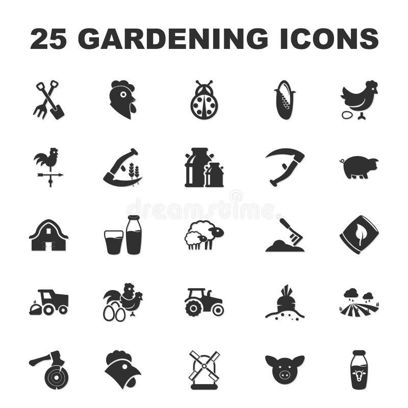 Cultive, cultivando un huerto 25 iconos simples negros fijados para el web ilustración del vector