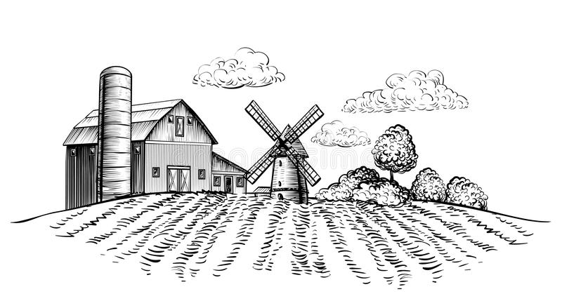 Cultive el granero y el molino de viento en campo agrícola en el estilo dibujado mano rural del bosquejo del paisaje de los árbol libre illustration