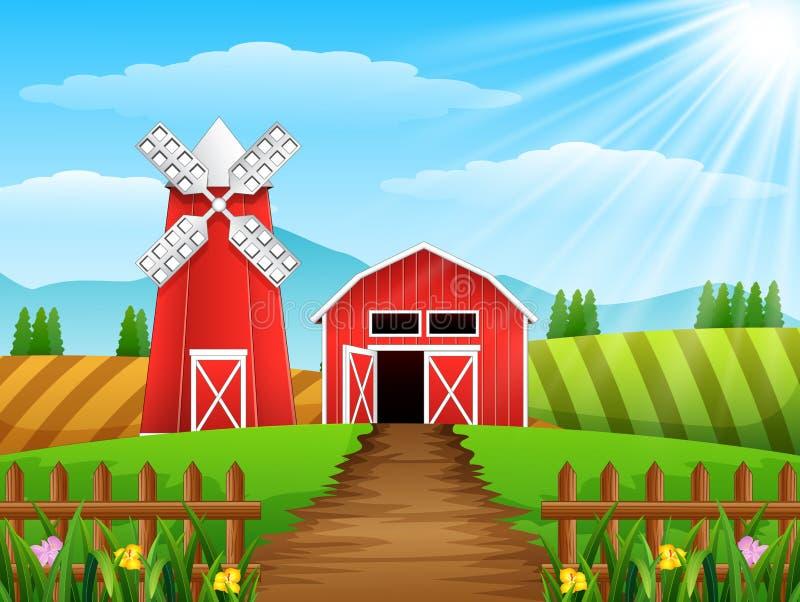 Cultive el paisaje con la vertiente y el molino de viento rojo en luz del día stock de ilustración