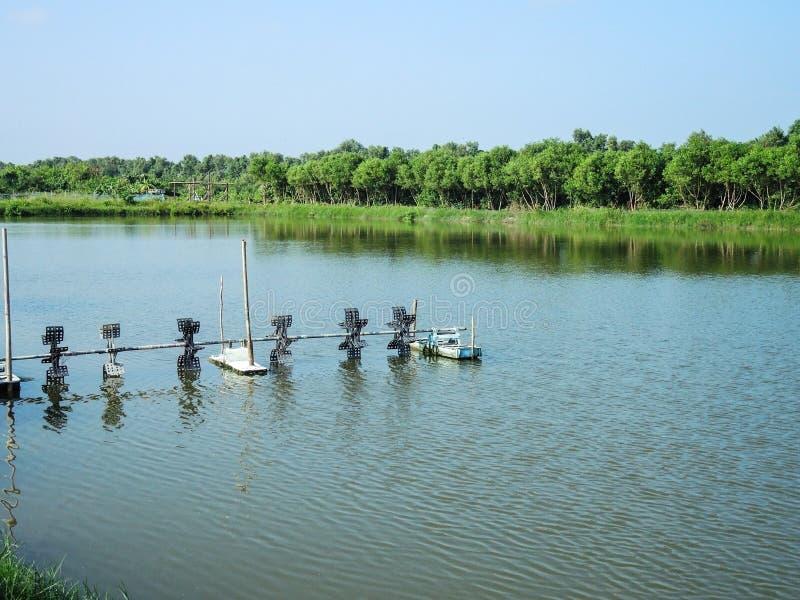 Cultive el sistema de la aireación del agua para los pescados o el camarón al aire libre que cultivan la charca foto de archivo libre de regalías