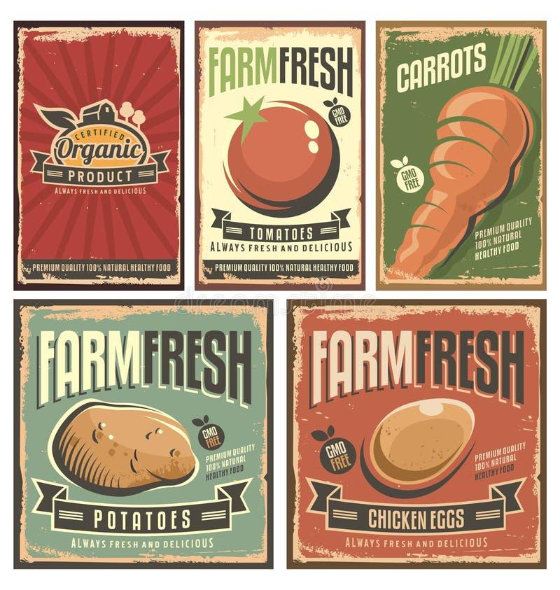 Cultive la colección retra de las muestras de la lata de los productos orgánicos frescos ilustración del vector