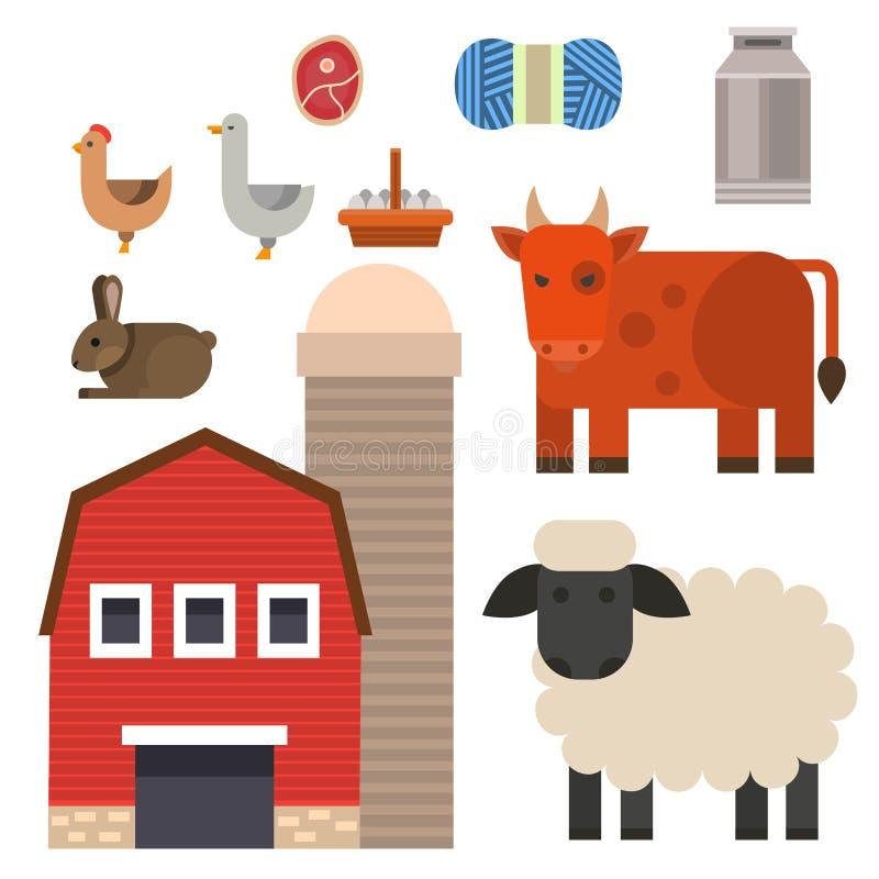 Cultive la comida de la naturaleza del ejemplo del vector del icono que cosecha caracteres de los animales de la agricultura del  libre illustration
