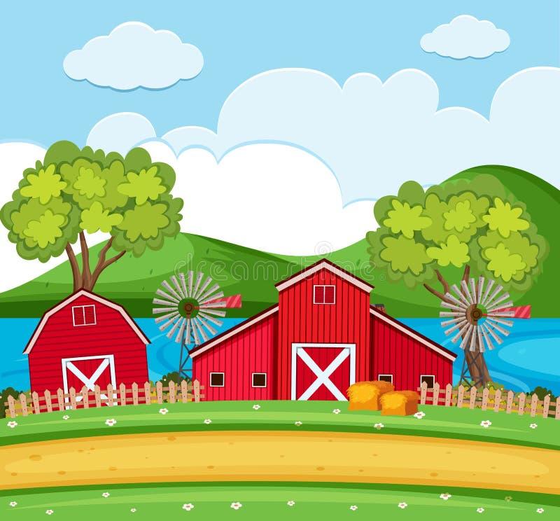 Cultive la escena con los graneros y las turbinas de viento rojos ilustración del vector