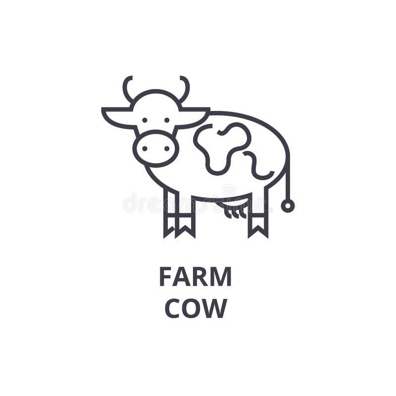 Cultive a linha ícone da vaca, sinal do esboço, símbolo linear, vetor, ilustração lisa ilustração do vetor
