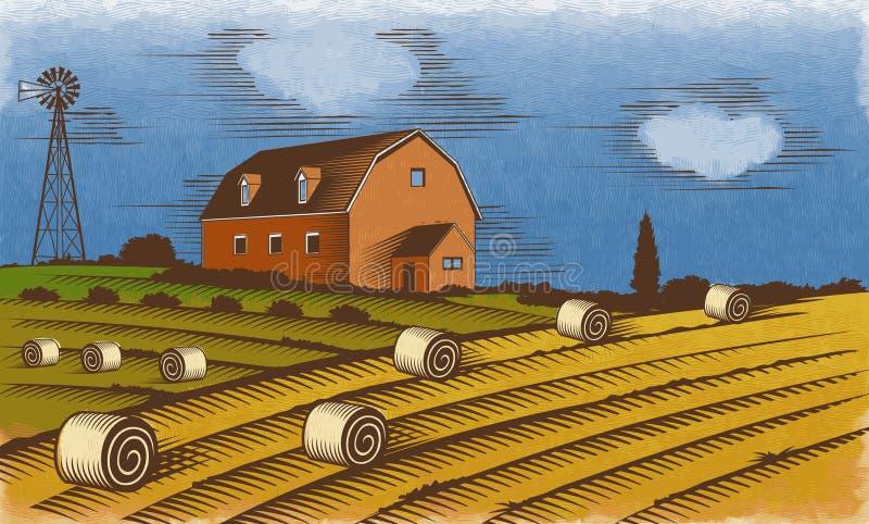 Cultive a paisagem Ilustração gravada do vetor da cor ilustração stock