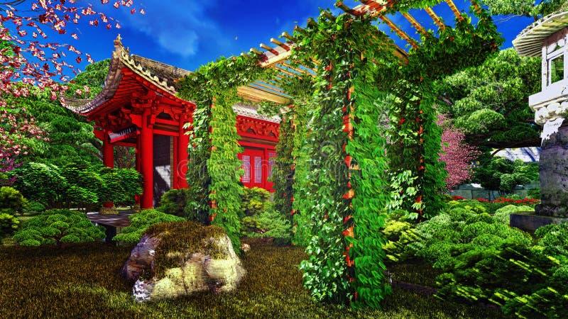 Cultive un huerto en estilo chino y planta la representación 3d ilustración del vector