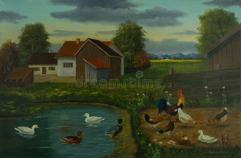 Cultivez et un étang avec des canards et des poulets illustration de vecteur