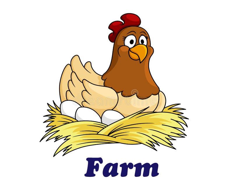 Cultivez l'emblème avec une poule se reposant sur des oeufs illustration stock