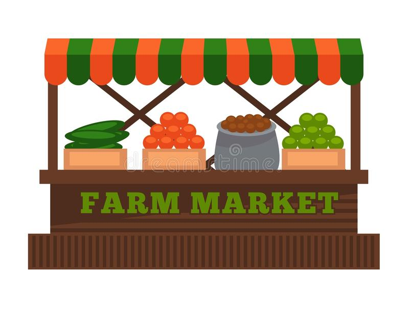 Cultivez l'icône d'isolement par conception plate de vecteur de stalle de cabine de vendeur de fruit ou de légume du marché illustration de vecteur