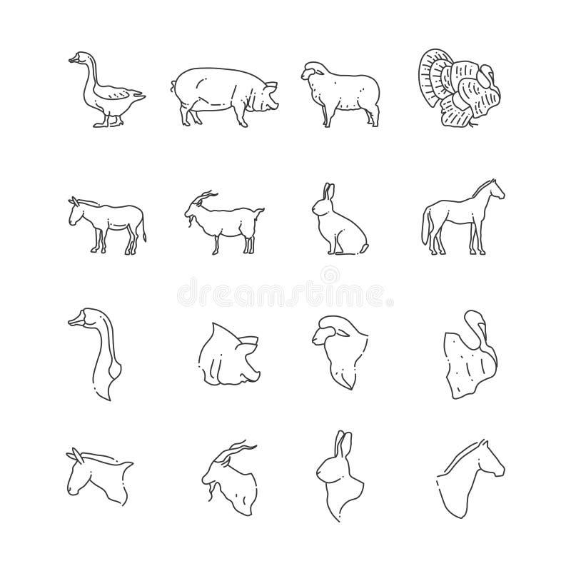 Cultivez la ligne d'oiseau et animale icône - complètement et têtes des animaux illustration libre de droits