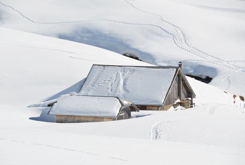 Cultivez la maison enterrée sous la neige photo stock