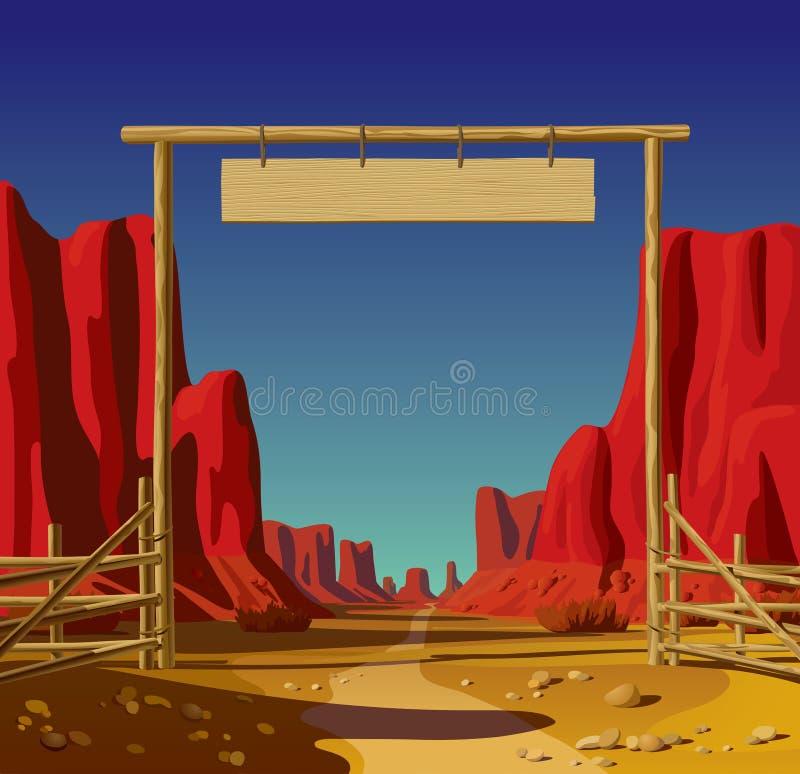 Cultivez la porte dans l'ouest sauvage illustration de vecteur