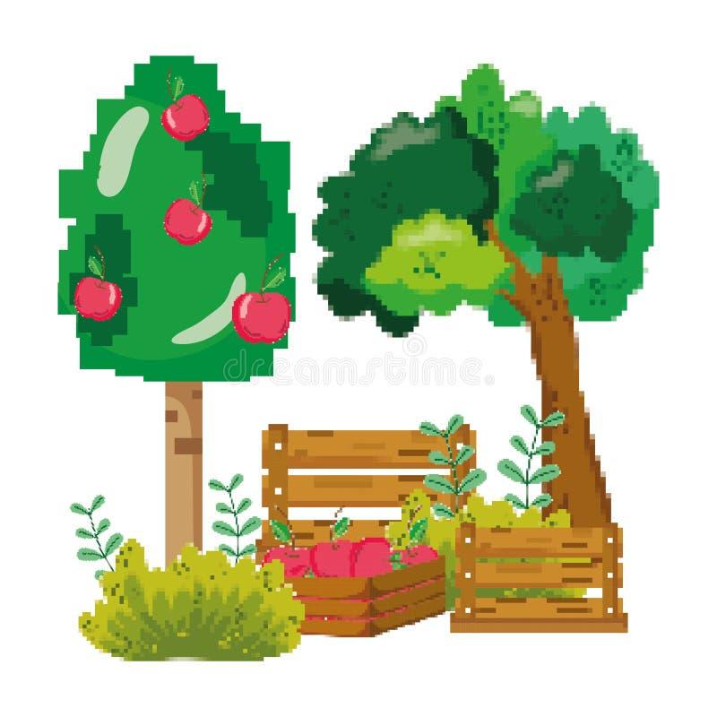 Cultivo da exploração agrícola de árvore da maçã de Pixelated ilustração stock