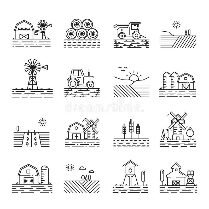 Cultivo de iconos en un estilo linear fino libre illustration