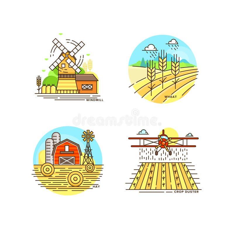Cultivo de la colección del logotipo en la línea diseño Cultive los paisajes, granero, molino de viento, cropfield, ejemplo plano libre illustration