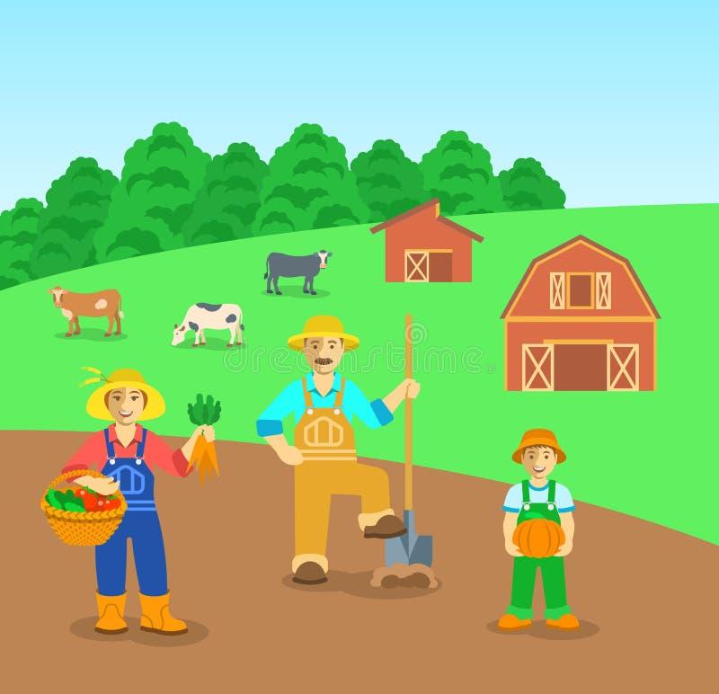 Cultivo de la familia en fondo plano del campo de granja stock de ilustración