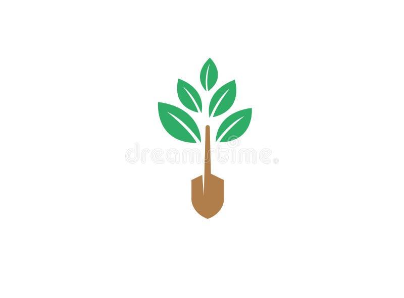 Cultivo de las plantas con la herramienta del tronco de árbol para el ejemplo del diseño del logotipo stock de ilustración