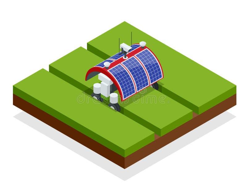 Cultivo esperto da automatização isométrica no campo Robôs da inteligência artificial em agrícola Alimento biológico ilustração stock